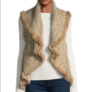 Rabbit fur trim marled vest - Brand new